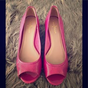 COLE HAAN Pink Open Toe Wedges 9.5 US